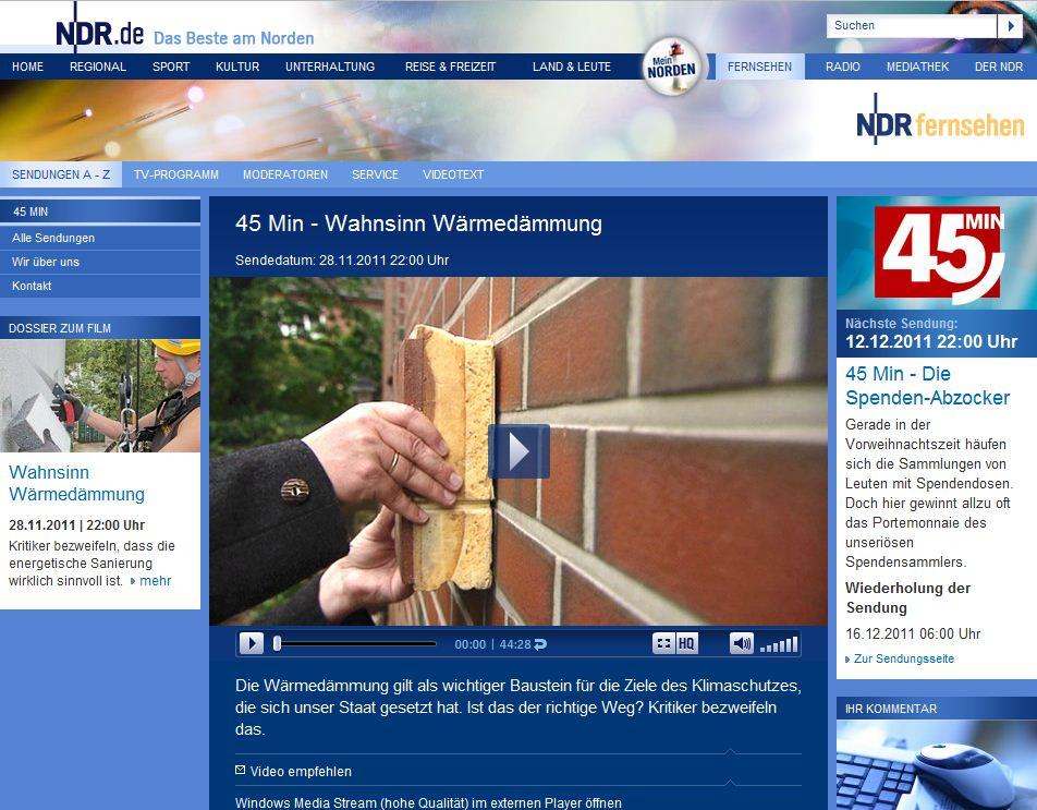 """Sorgt für Diskussionen: NDR-Doku """"Wahnsinn Wäremdämmung"""" - Abb.: Screenshot NDR"""