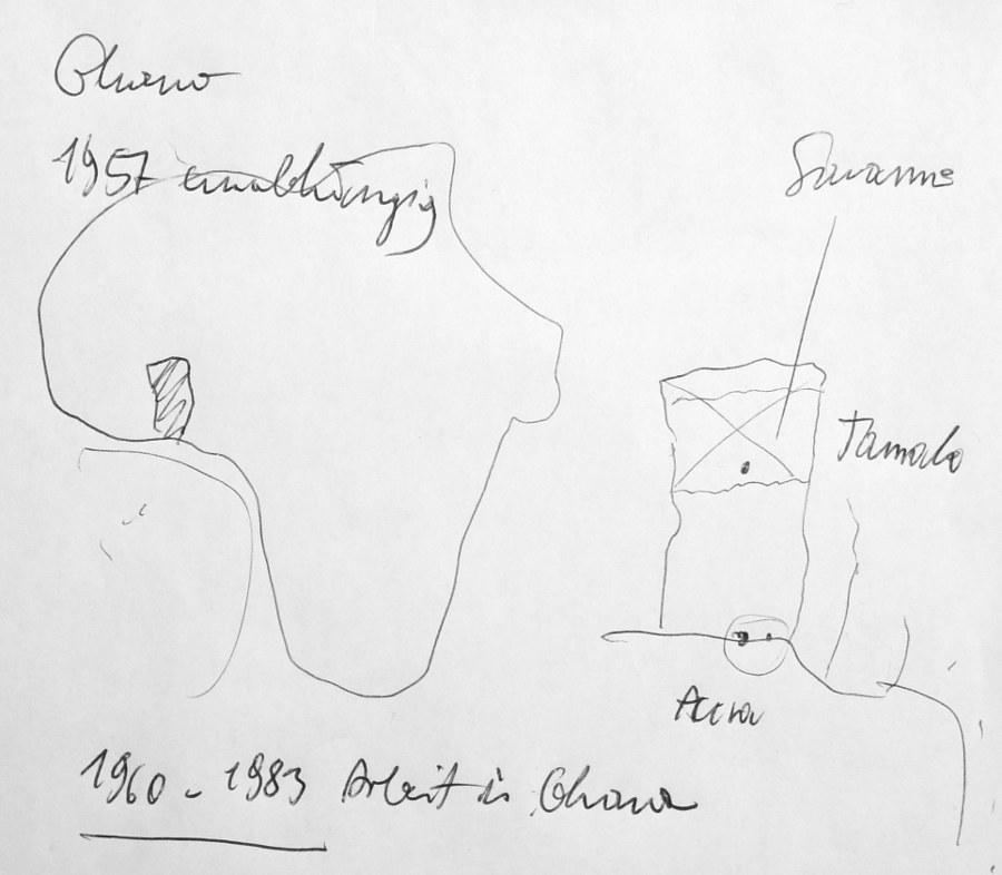 Erregte die Aufmerksamkeit des Kellners: Hannah Schreckenbachs beiläufige Skizze zur geografischen Lage Ghanas, der Hauptstadt Accra und der nördlichen Landesteile
