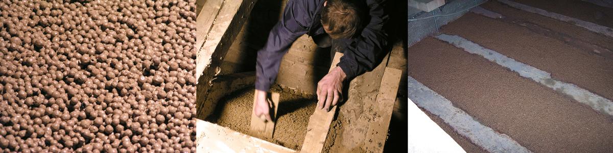 Gemisch aus Blähton und Lehm – Einbringen der Leichtlehm-Schüttung – plan gezogene Zwischendecke