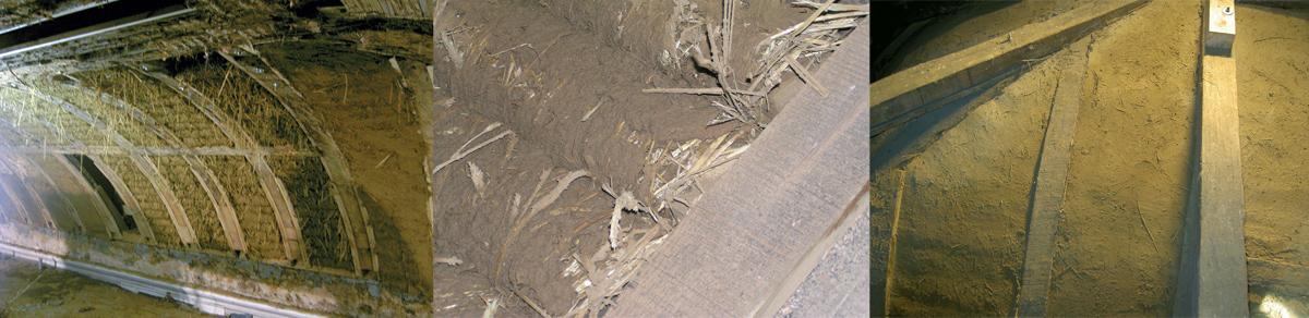 v.l.n.r.: Ausfachung des Kirchendachs mit Lehm-Wickelstaken, Wickelstaken im Detail, fertige Ausfachung nach dem Verstreichen