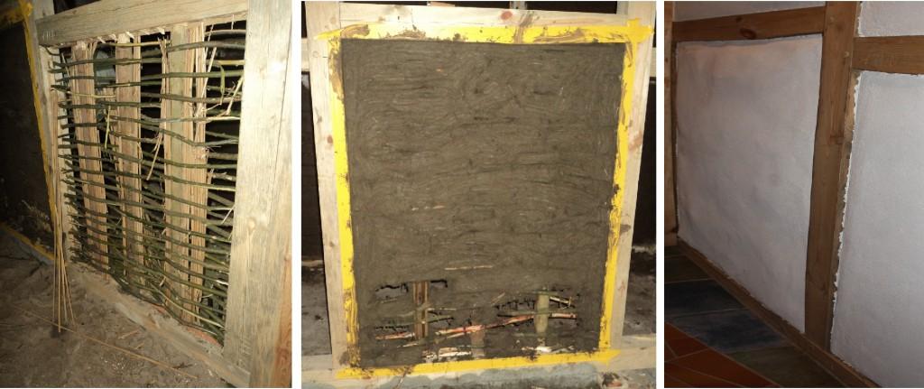 Ausfachung einer Innenwand mit  Wurflehmtechnik