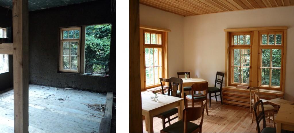 Innenansicht des Café Verde - links im Bau | rechts nach Fertigstellung