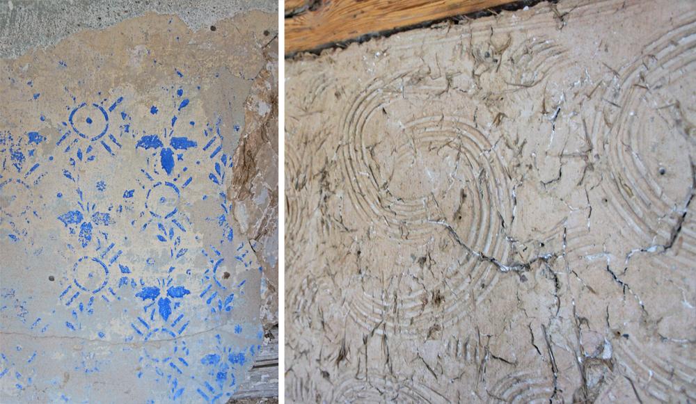 Denkmalpflegerische Highlights: Original Wandmalerei (li.) und mit dem Kamm gezeichnete Ornamente im Lehmputz