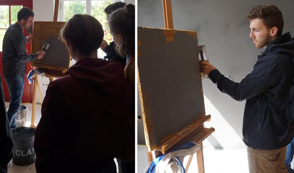 Nach der Praxisvorführung konnten die Studierenden sich selbst am Material probieren.
