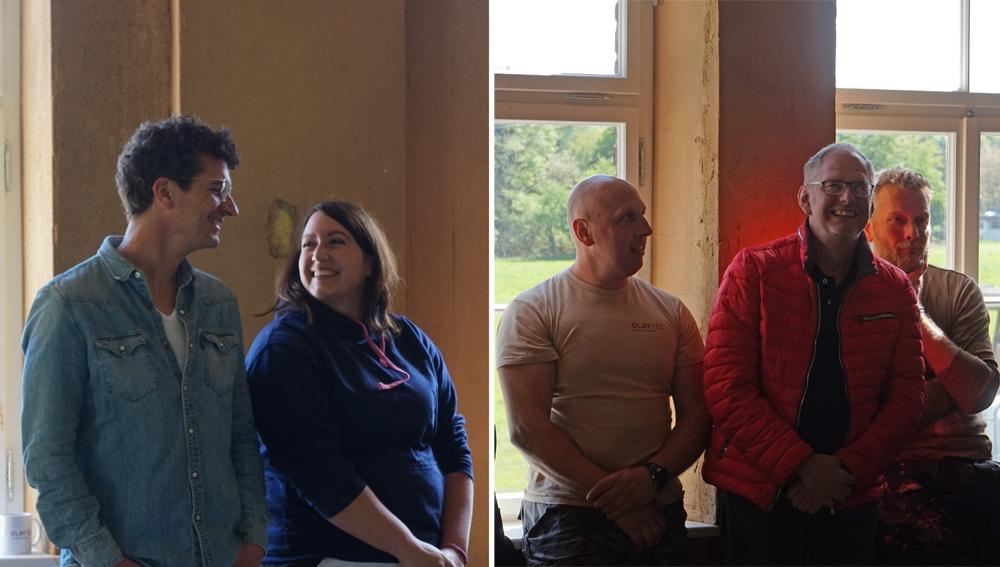 Große Freude bei den Preisträgern im Moment der Verkündung: Florian Epple, Michaela Huber (li.,beide 2. Platz) und Sieger Thomas Glück (in rot)